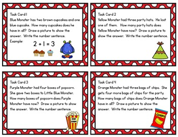 Monster Math Task Cards / Party Theme / Addition & Subtraction Facts to Ten