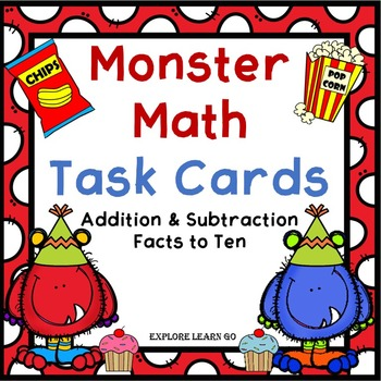 Monster Math Task Cards / Party Theme / Addition & Subtrac