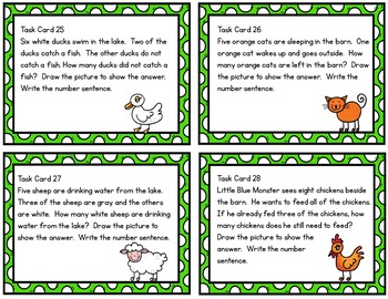 Monster Math Task Cards / Farm Theme / Addition & Subtraction Facts to Ten