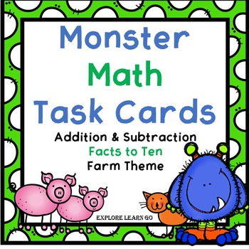 Monster Math Task Cards / Farm Theme / Addition & Subtract