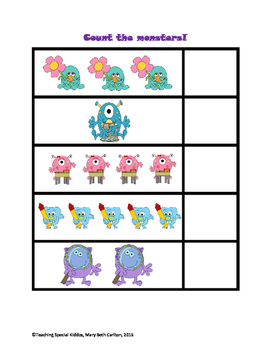 Monster Math Adapted Book/ File Folder Games (Counting, Sorting, More/Less)