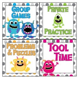 Monster Math ~ themed math center organization