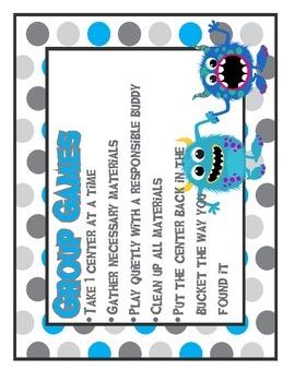 Monster Math ~ themed math center organization