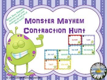 Contraction Scavenger Hunt {monster theme}