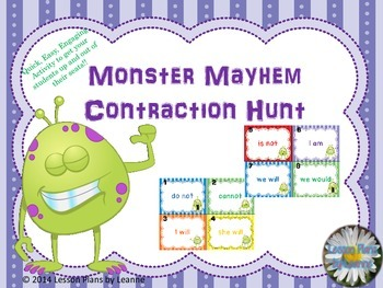 Contraction Scavenger Hunt {monster theme}