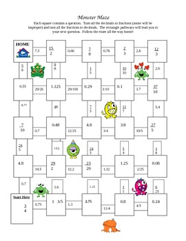 Monster Maze (connecting fractions and decimals)