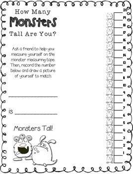 Halloween Measuring -- How Many Monsters Tall Are You? -- Halloween Math Center