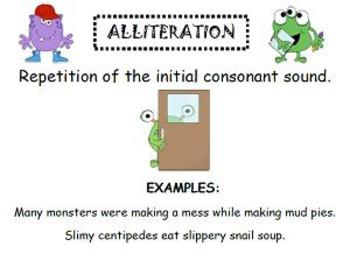 Figurative Language Fun- Monster Menu Alliteration Activity