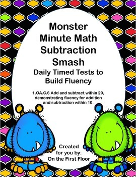 Monster Minute Math Subtraction Smash-Daily Timed Tests to Build Fluency