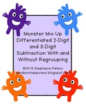 Monster Mix Up Differentiated 2 & 3 Digit Subtraction with & without regrouping