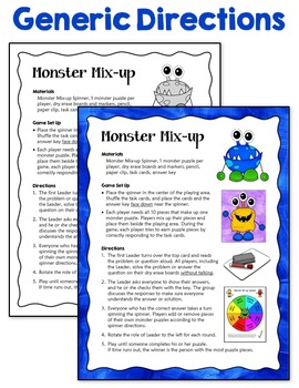 Task Cards Game: Monster Mix-up