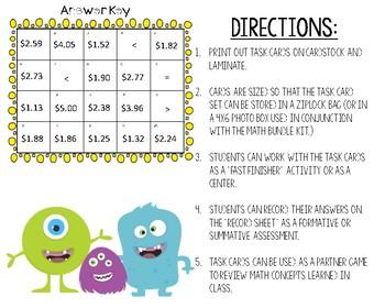 Monster Money Madness Task Cards #7
