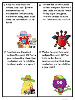"""Monsters Shopping """"Word Problems"""" (Money Activities)"""