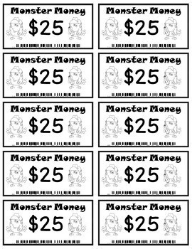 Monster Money  - Rewards/Classroom Money/Incentives