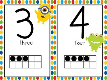 Monster, Monster, Oh So Cute  Number Line to 20 with Ten Frames and Number Words