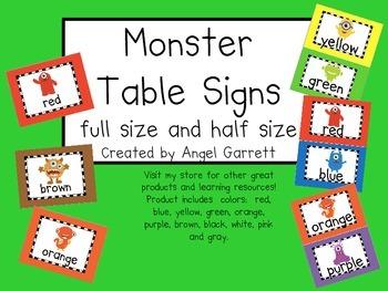 Monster, Monster Table Signs
