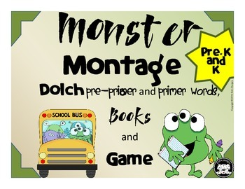 Dolch Pre-primer and Primer Words Monster Montage Game and Book
