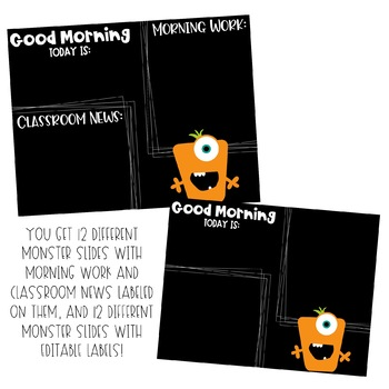 Monster Morning Work Editable Template