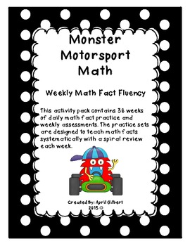 Monster Motorsports: Weekly Math Fact Fluency Program