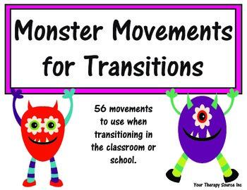 Monster Movement Transition Cards - Brain Breaks