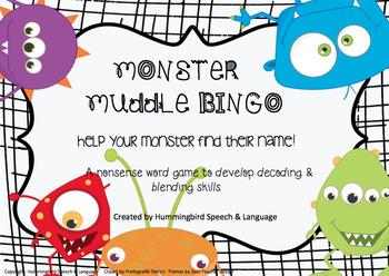 Monster Muddle Bingo - Nonsense words for decoding, blending and fluency!