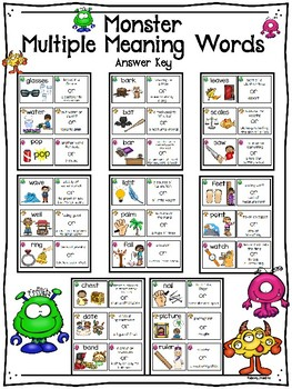 Monster Multiple Meaning Words Match