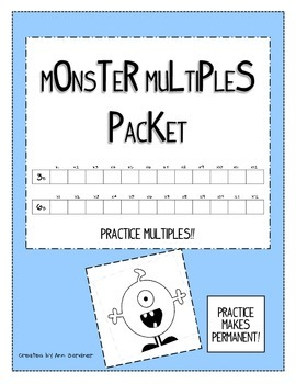 Multiplication Monster Multiples Packet - 8 Sheets!