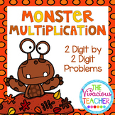 Monster Multiplication 2 Digit by 2 Digit Problems Task Cards/ Scoot Activity