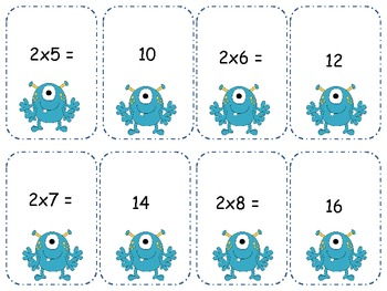 Monster Multiplication 2's Go Fish/ Memory {Freebie}