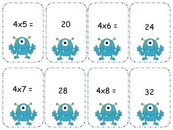 Monster Multiplication 4's Go Fish/ Memory