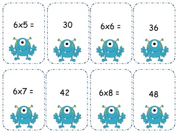 Monster Multiplication 6's Go Fish/ Memory