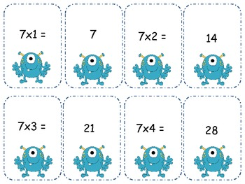Monster Multiplication 7's Go Fish/ Memory