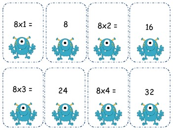 Monster Multiplication 8's Go Fish/ Memory