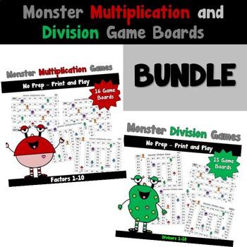 Monster Multiplication And Division Games Bundled