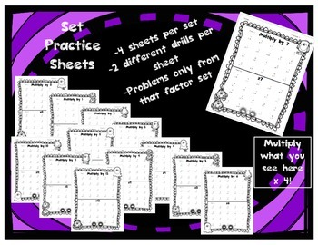 Multiplication Fact Practice Drills and Quizzes by Set with Cumulative Review