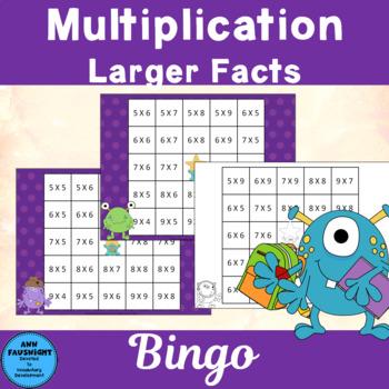 Monster Multiplication Facts 6 - 9 Reverse Bingo