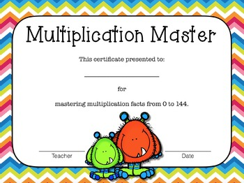 Monster Multiplication Flash Cards with Award Certificates Chevron Theme - Small