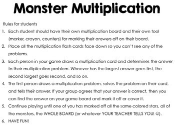 Multiplication Math Facts Game {4th and 5th Grade Common Core Aligned}