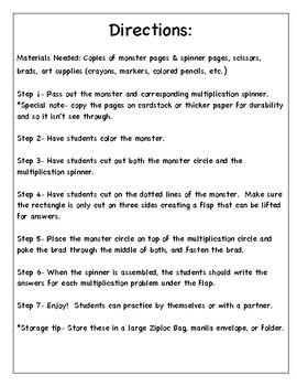 Monster Multiplication Practice Spinners