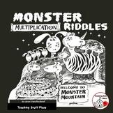 MONSTER MATH Multiplication Problems  Color Monster Gr. 3-4 RIDDLES No Prep