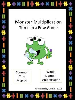 Monster Multiplication Three in a Row Game (4th and 5th grade)
