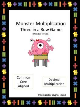 Monster Multiplication Three in a Row Game - Decimal Version