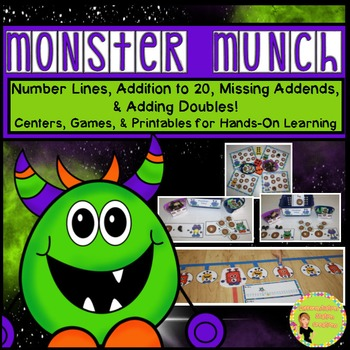Addition to 20, Number Lines, Missing Addends: Monster Munch
