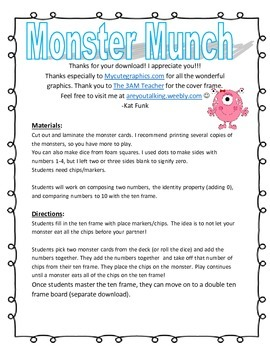 Monster Munch Math Game- Addition