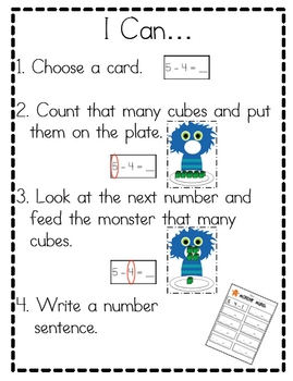 Monster Munch Subtraction Game for Small Group, Stations or Centers
