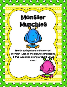 Monster Munchies-Short/Long Vowel Sort Game