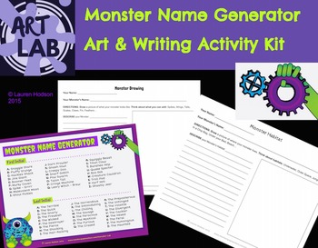 Monster Name Generator Art & Writing Activity Kit {Printable}