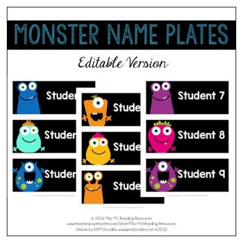 Monster Name Plates {EDITABLE}
