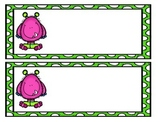 Monster Name Tags (Pink and Green Polka Dot Design)