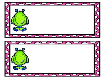 Monster Name Tags (Pink and Green Polka Dot Design)
